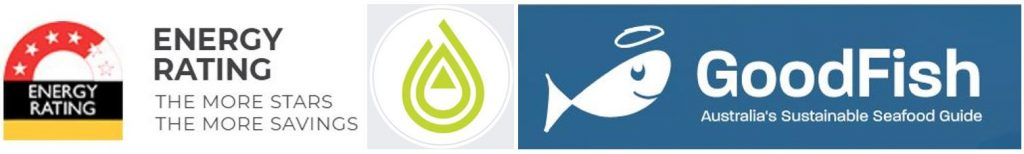Energy Rating, Sustain Me and GoodFish compilation of logos